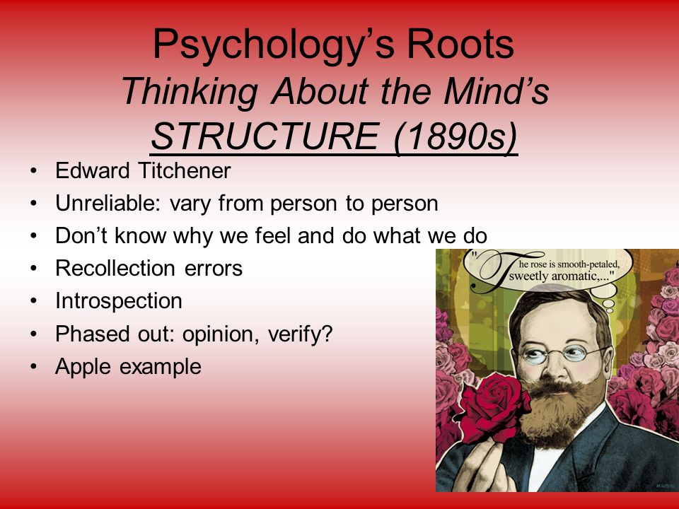 Psychology's Roots Thinking About the Mind's STRUCTURE (1890s)