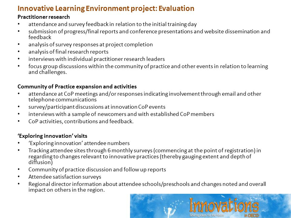 Innovative Learning Environment project: Evaluation