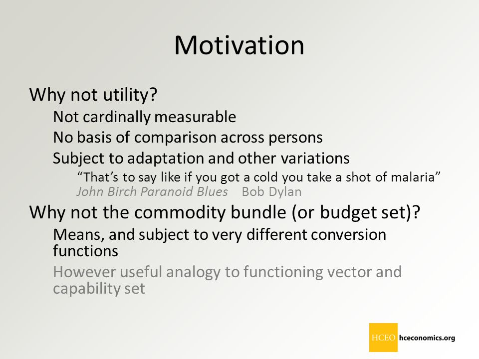 Motivation Why not utility