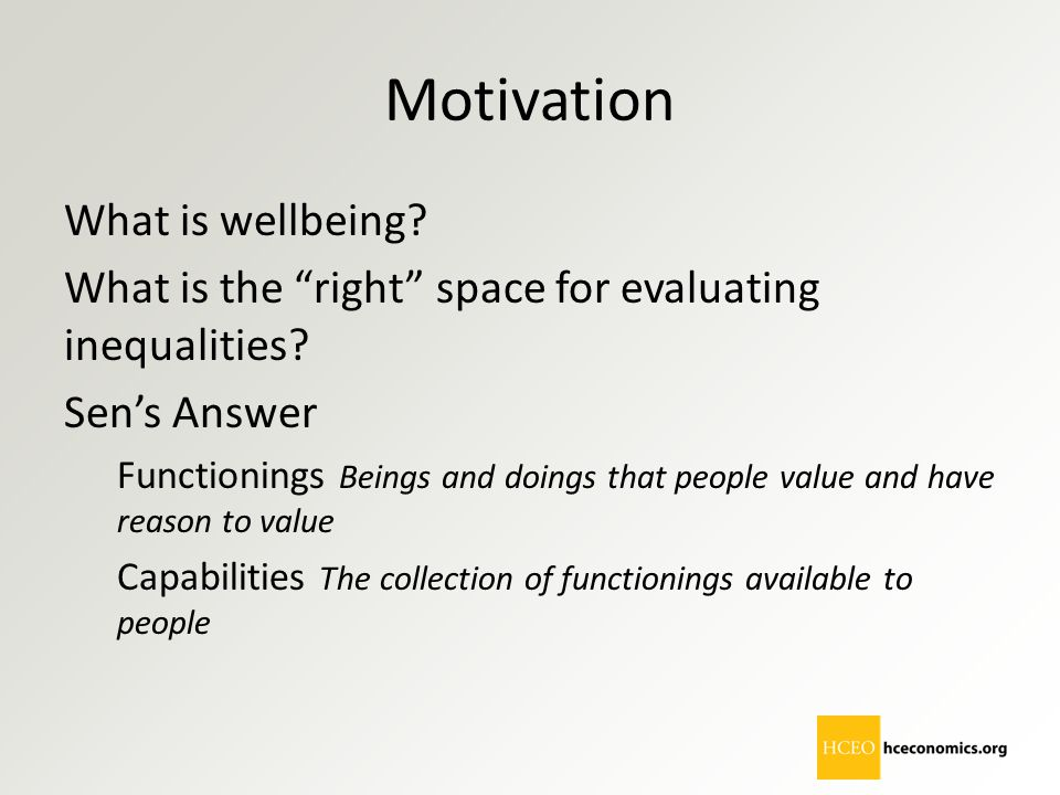 Motivation What is wellbeing