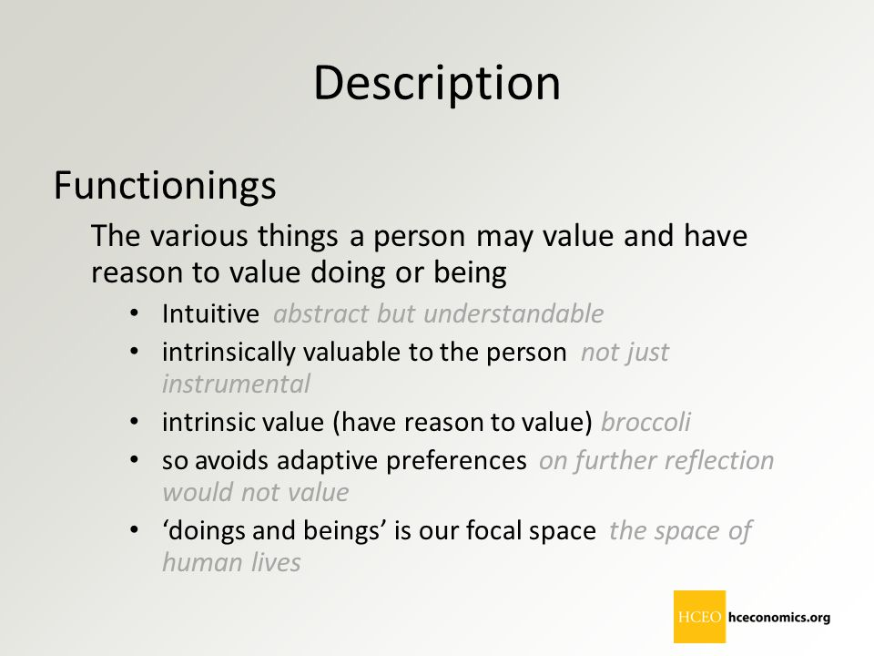 Description Functionings