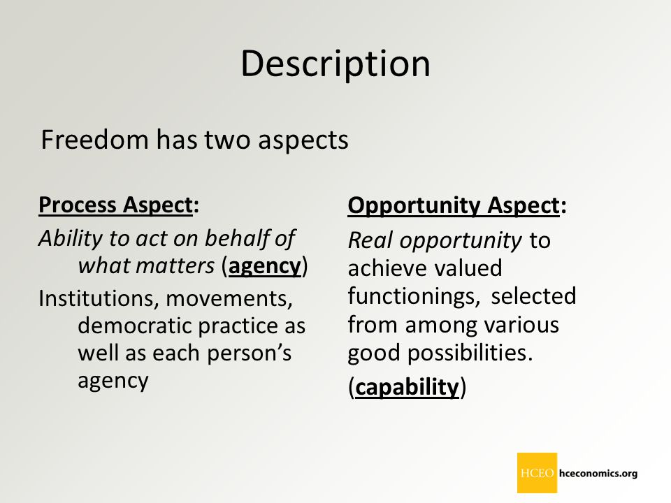 Description Freedom has two aspects Opportunity Aspect:
