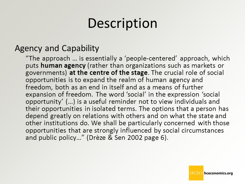 Description Agency and Capability