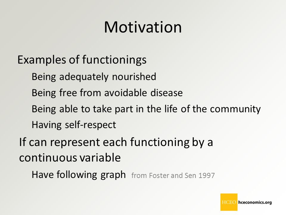 Motivation Examples of functionings
