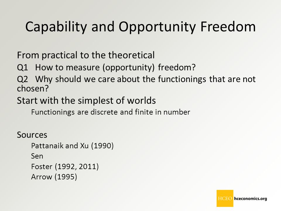 Capability and Opportunity Freedom