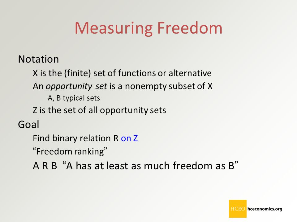 Measuring Freedom Notation Goal