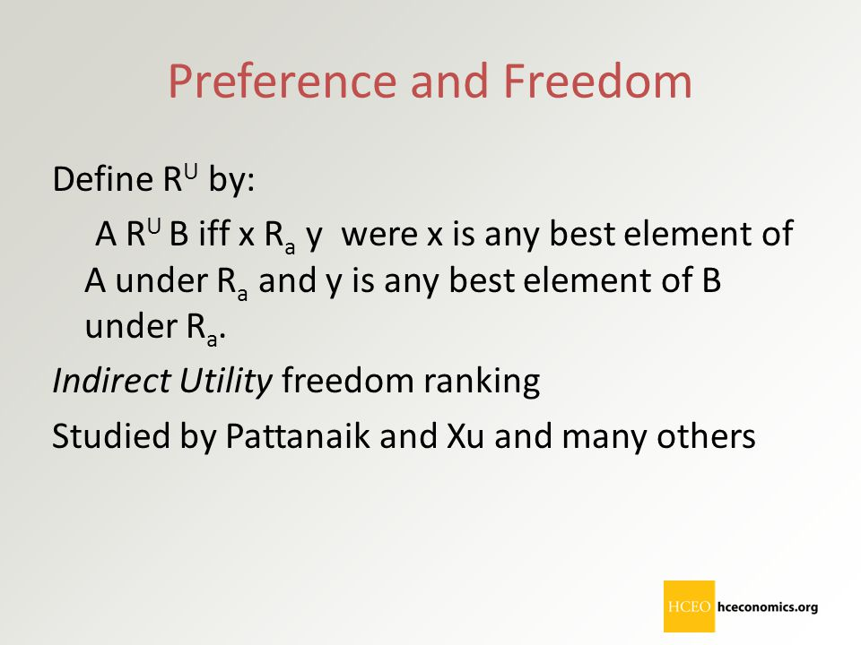 Preference and Freedom