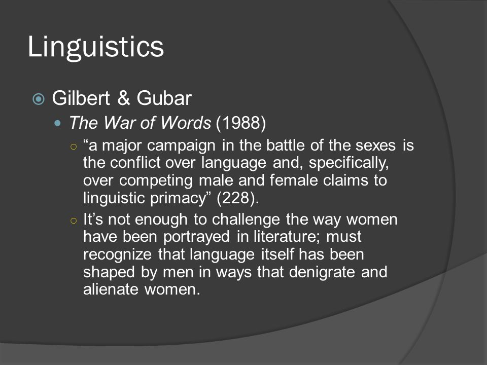 Linguistics Gilbert & Gubar The War of Words (1988)