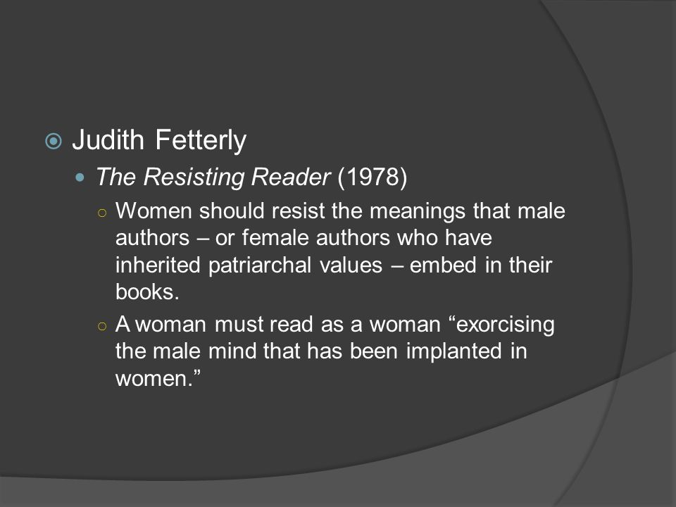 Judith Fetterly The Resisting Reader (1978)