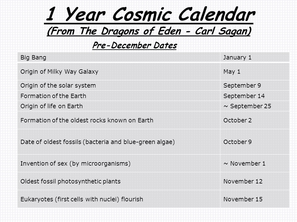 1 Year Cosmic Calendar (From The Dragons of Eden - Carl Sagan)