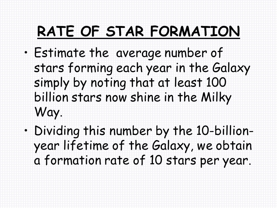 RATE OF STAR FORMATION