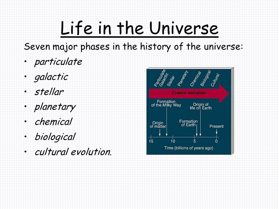 Life in the Universe Seven major phases in the history of the universe: particulate. galactic. stellar.