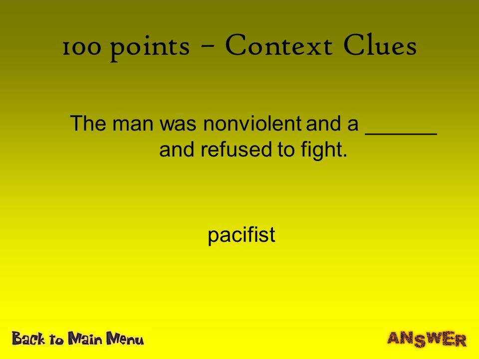 The man was nonviolent and a ______ and refused to fight.