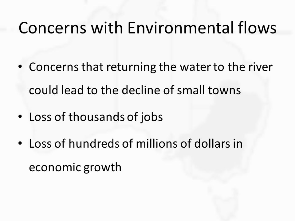 Concerns with Environmental flows