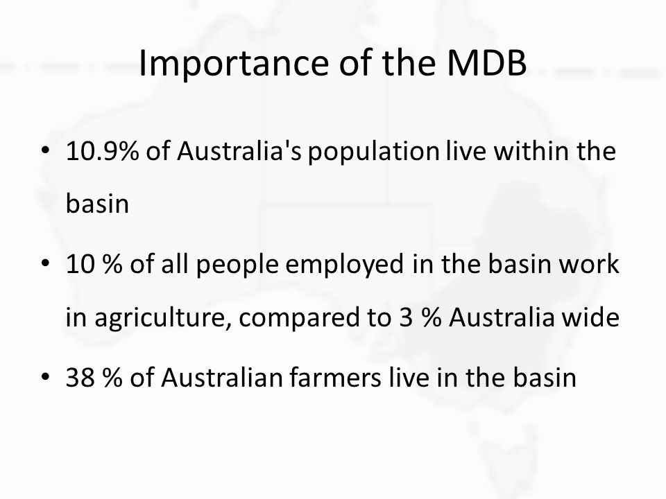 Importance of the MDB 10.9% of Australia s population live within the basin.