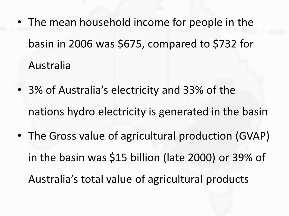 The mean household income for people in the basin in 2006 was $675, compared to $732 for Australia