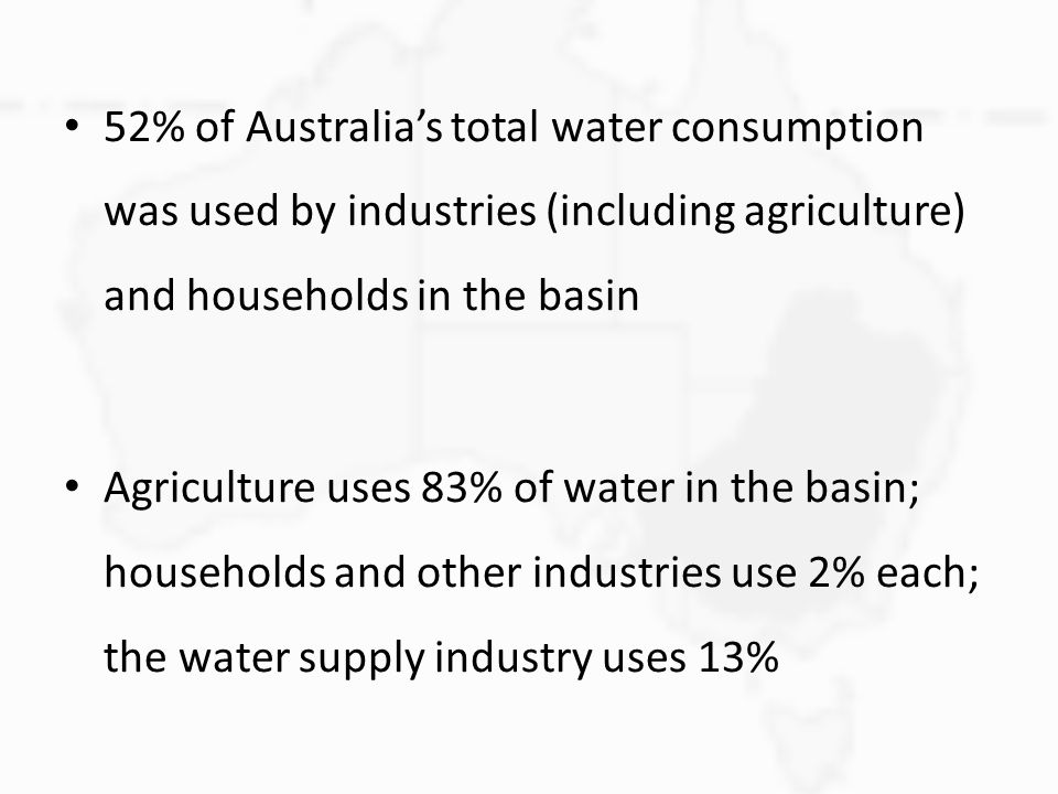 52% of Australia's total water consumption was used by industries (including agriculture) and households in the basin