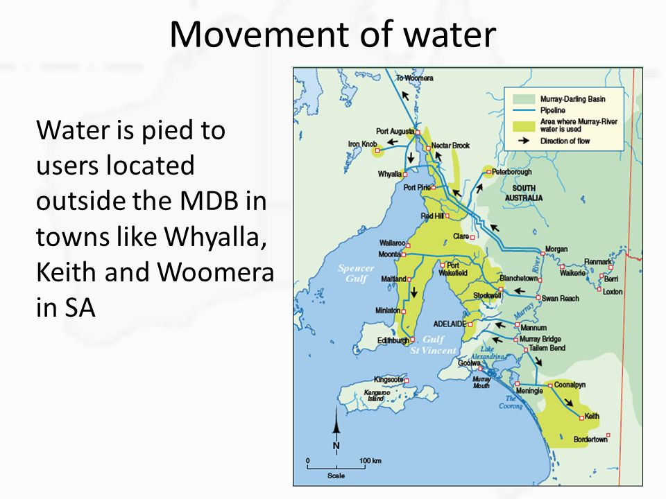 Movement of water Water is pied to users located outside the MDB in towns like Whyalla, Keith and Woomera in SA.