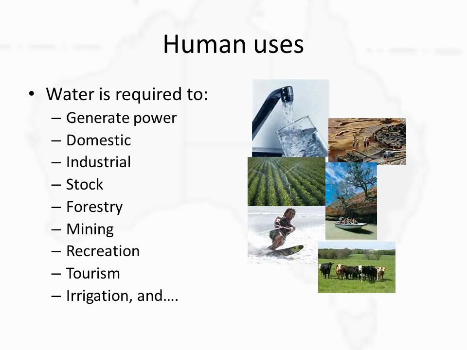 Human uses Water is required to: Generate power Domestic Industrial