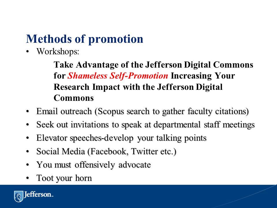 Methods of promotion Workshops: