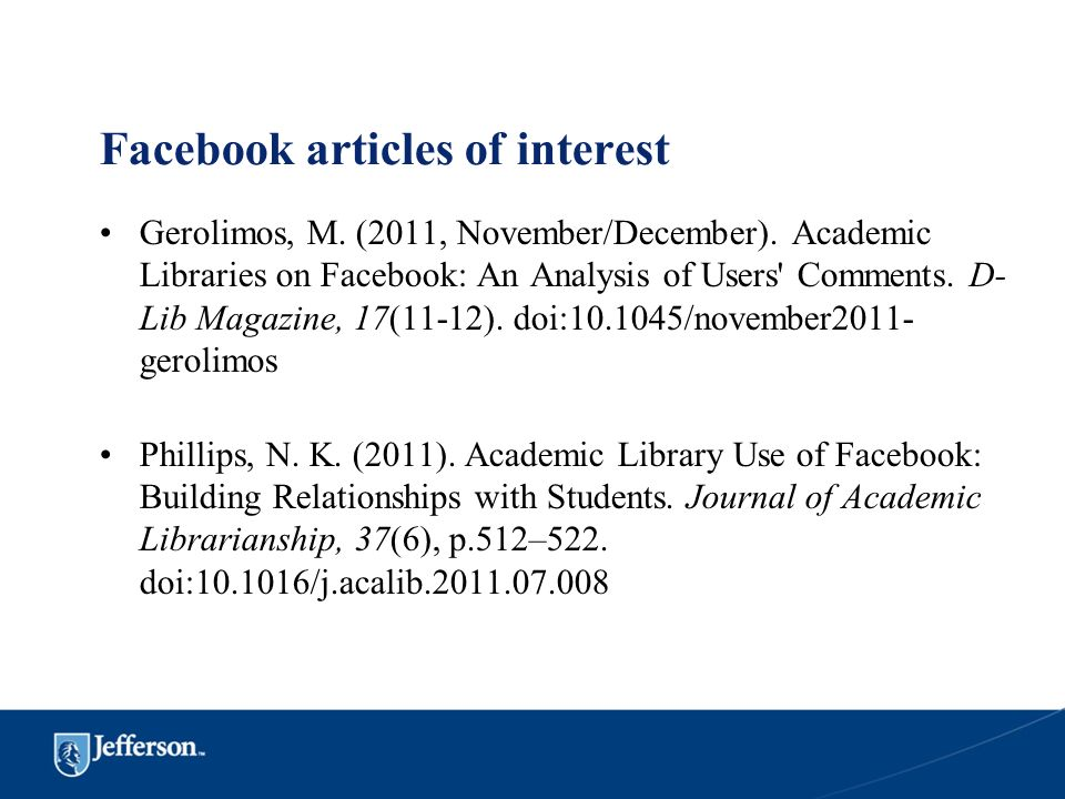 Facebook articles of interest