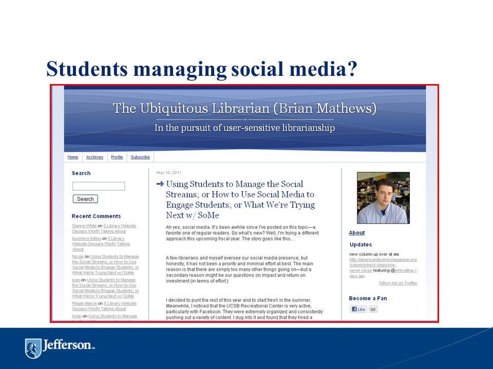 Students managing social media