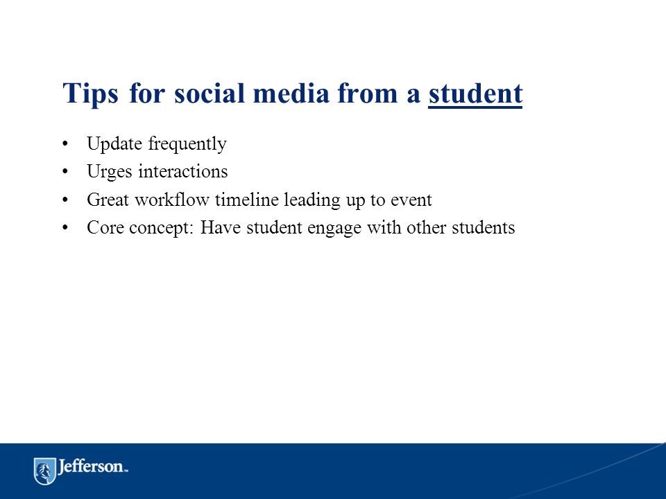 Tips for social media from a student