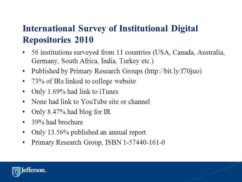 International Survey of Institutional Digital Repositories 2010