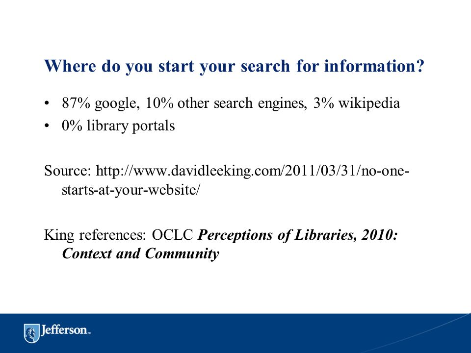 Where do you start your search for information