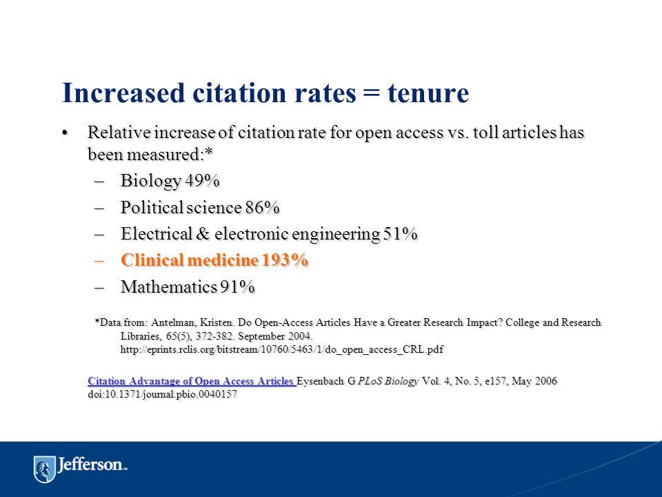 Increased citation rates = tenure
