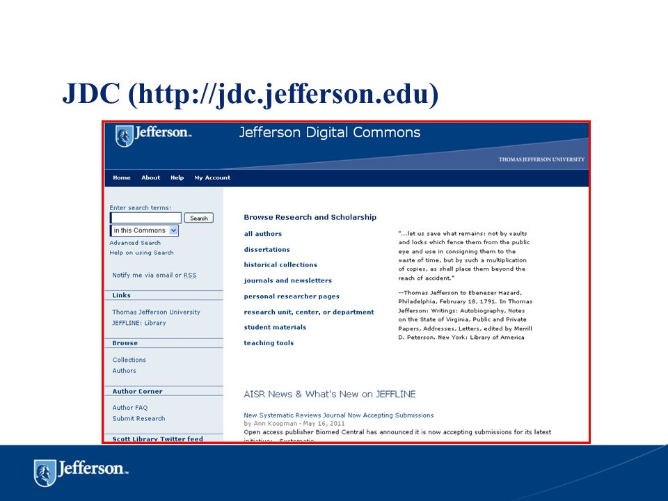 JDC (http://jdc.jefferson.edu)