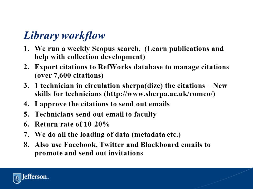 Library workflow We run a weekly Scopus search. (Learn publications and help with collection development)