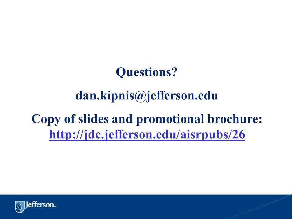 Questions. dan.kipnis@jefferson.edu.