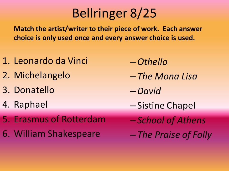 Bellringer 8/25 Leonardo da Vinci Othello Michelangelo The Mona Lisa
