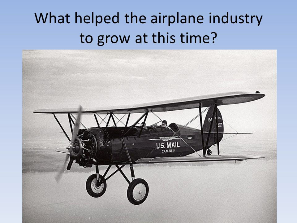 What helped the airplane industry to grow at this time