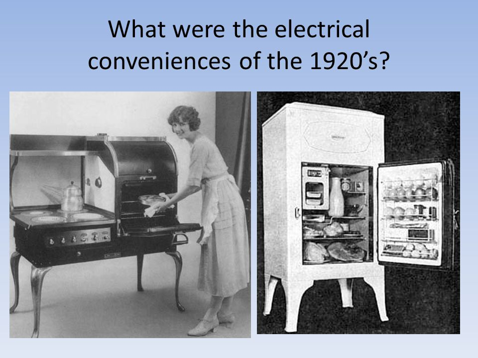 What were the electrical conveniences of the 1920's