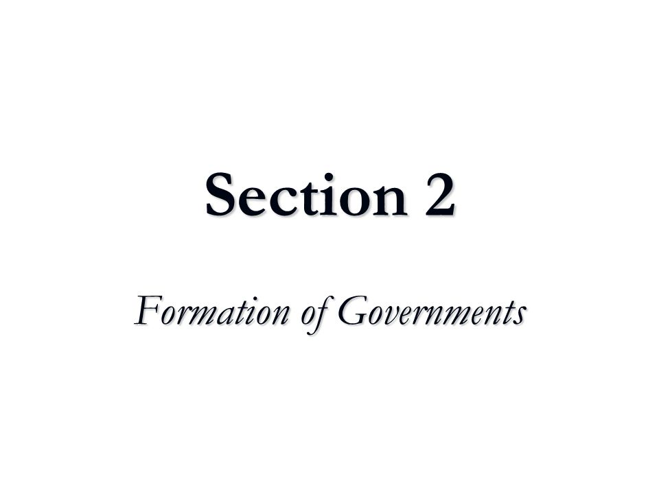 Formation of Governments