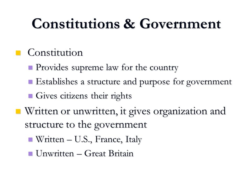 Constitutions & Government