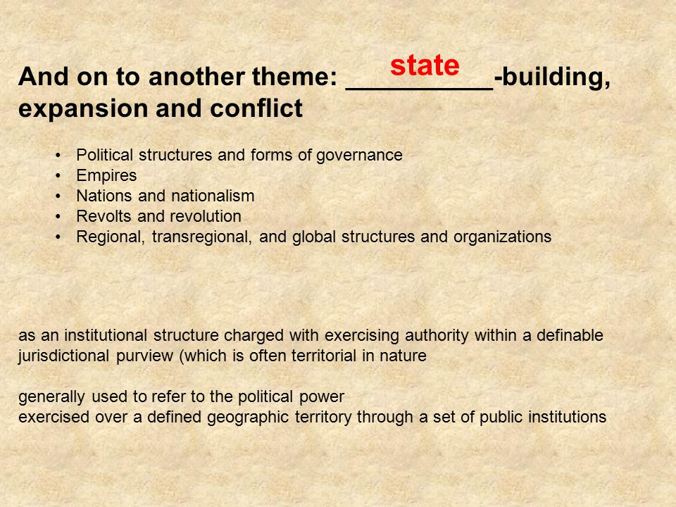 state And on to another theme: __________-building, expansion and conflict. Political structures and forms of governance.