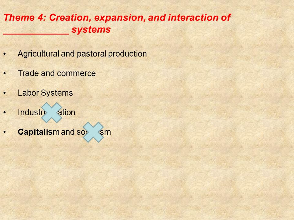 Theme 4: Creation, expansion, and interaction of ____________ systems