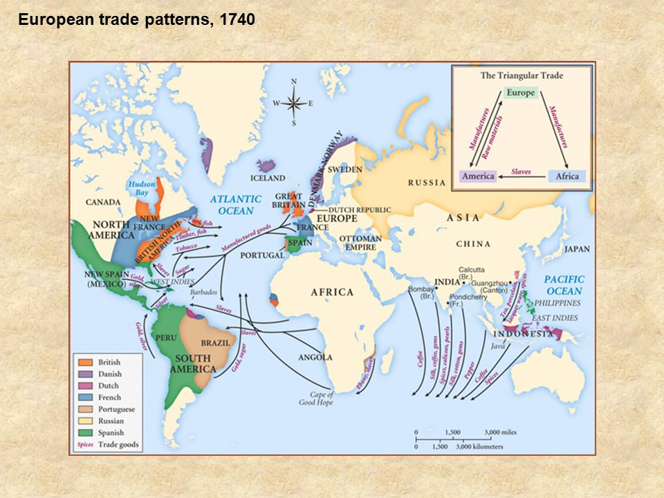 European trade patterns, 1740