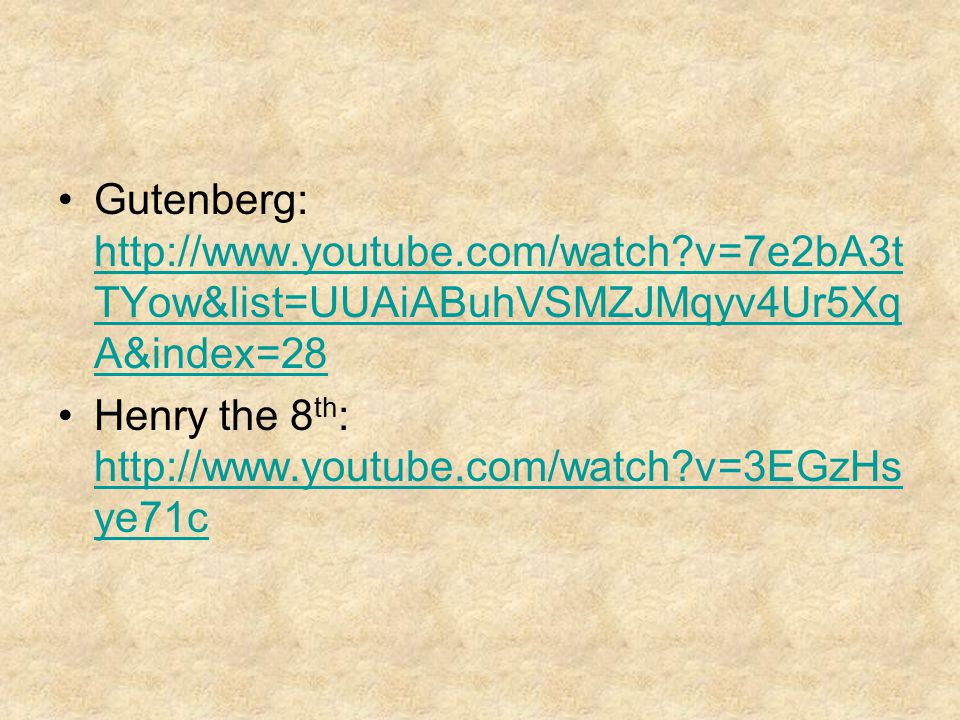 Gutenberg: http://www. youtube. com/watch
