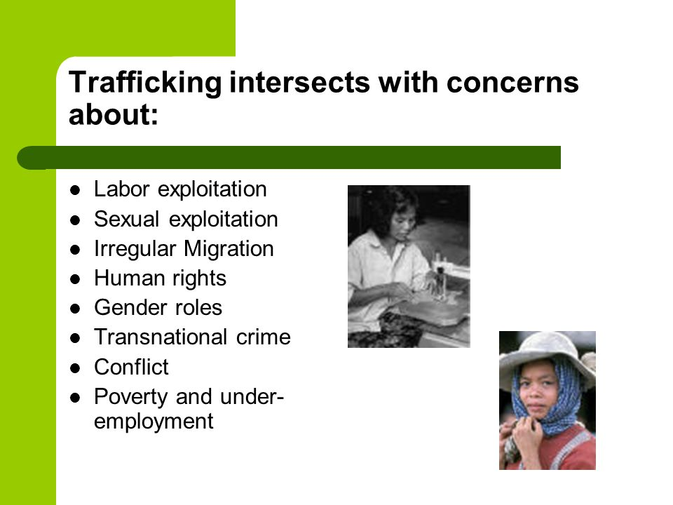Trafficking intersects with concerns about: