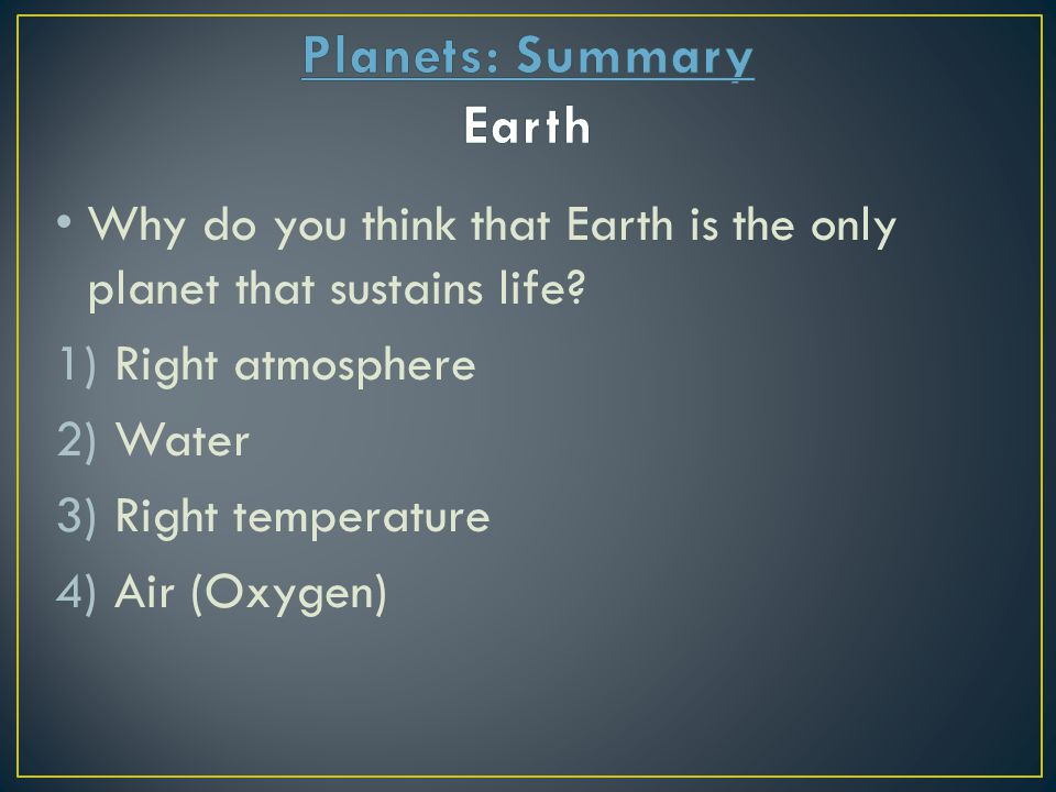 Planets: Summary Earth