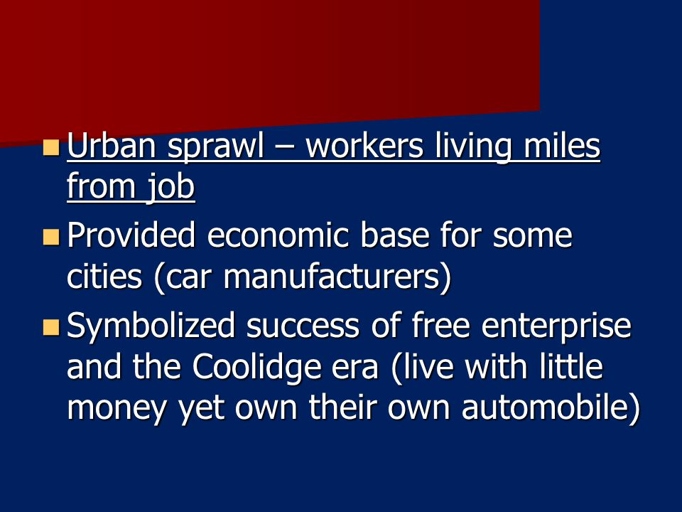 Urban sprawl – workers living miles from job