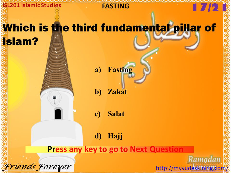 Which is the third fundamental pillar of Islam