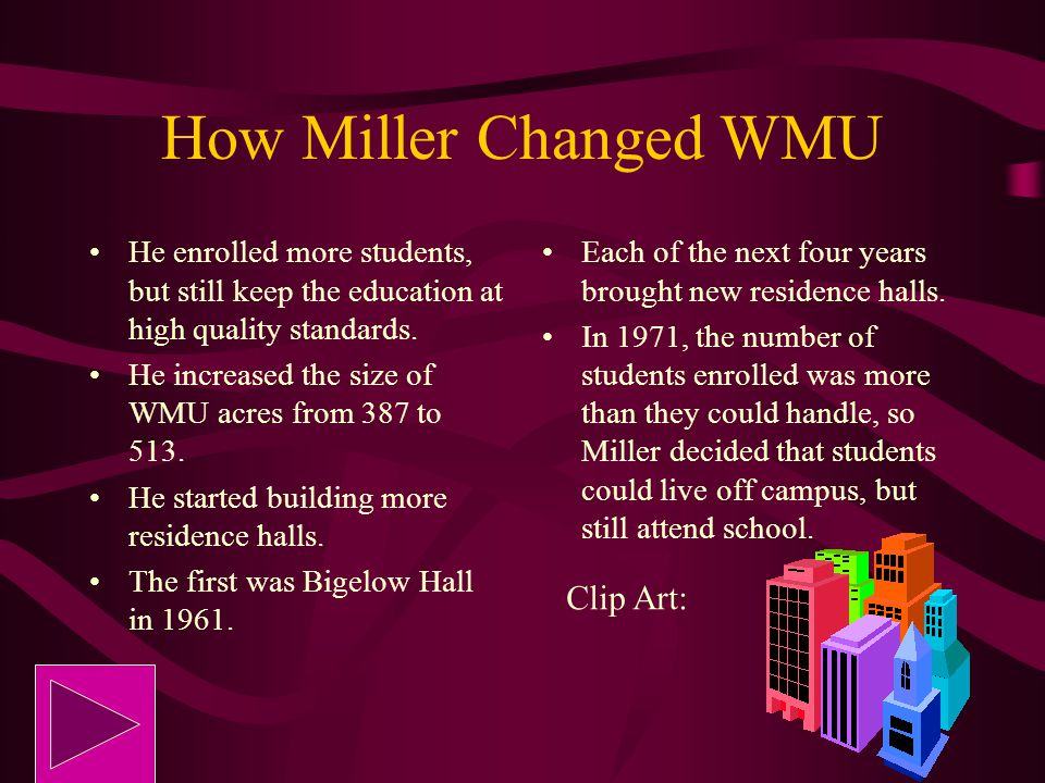 How Miller Changed WMU Clip Art: