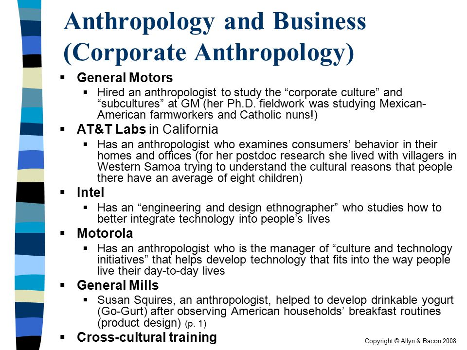 Anthropology and Business (Corporate Anthropology)