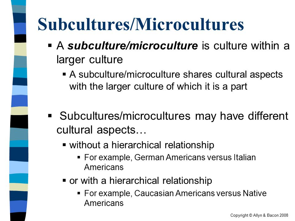 Subcultures/Microcultures
