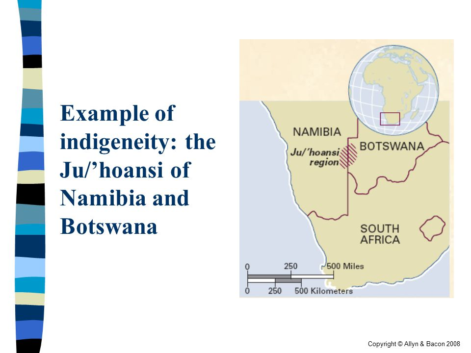 Example of indigeneity: the Ju/'hoansi of Namibia and Botswana